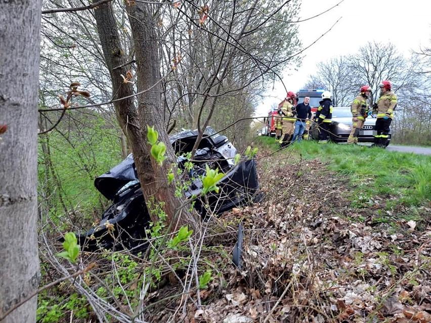 Powiat stargardzki. Wypadek drogowy między gminami Marianowo i Dobrzany. Auto wjechało do rowu i uderzyło w drzewo, kierująca została ranna