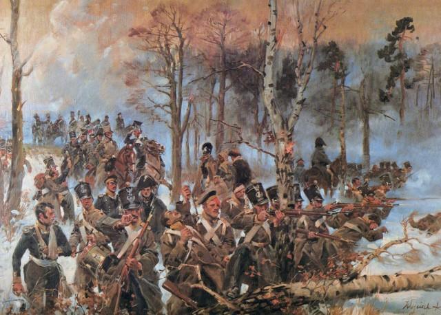 """4 pułk piechoty podczas bitwy pod Olszynką Grochowską - obraz Wojciecha Kossaka. Pod Olszynką, ale nie w szeregach """"czwartaków"""" walczył Łukasz Przybylski, podczas bitwy został zresztą ranny w nogę. Oficerem 4 pułku, ale po bitwie pod Grochowem został natomiast Józef Kruszyński"""
