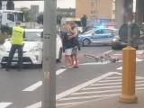 Białystok. Wypadek na skrzyżowaniu Andersa z Bitwy Białostockiej. Kobieta potrąciła rowerzystę (zdjęcia)