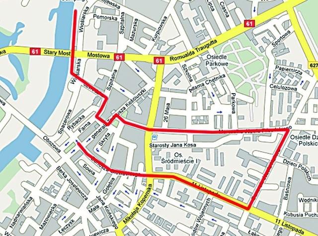 Tą trasą ułani i członkowie grup historycznych przejdą w sobotnie popołudnie znad Narwi na plac Bema