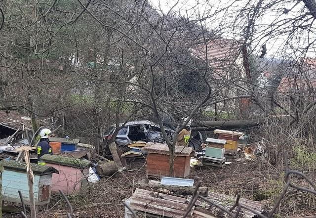 W Świeradowie Zdroju rozpędzona terenówka wypadła z drogi i wylądowała w pasiece.