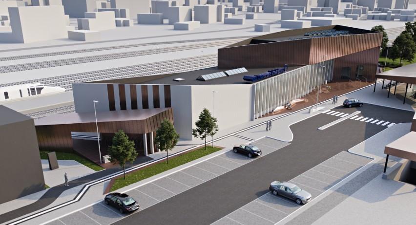 Budynek nowego dworca kolejowego we Włocławku będzie wykończony wysokiej klasy materiałami, takimi jak granit, beton, szkło czy panele aluminiowe.