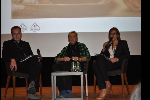 Prezes Inga Kamieńska i Marek Cebula (w środku) podczas konferencji Biznes Up! Łódź Design Festiwal.