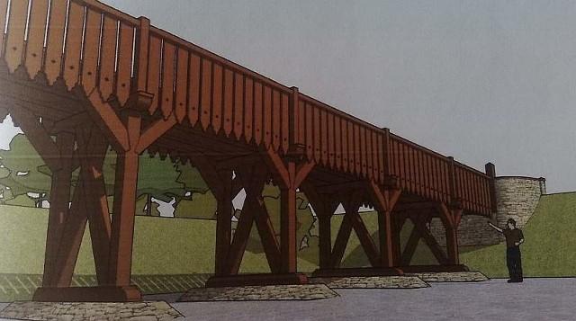 Między wieżą a Solarisem powstanie drewniany most, który wejdziemy do zabytkowej wieży.