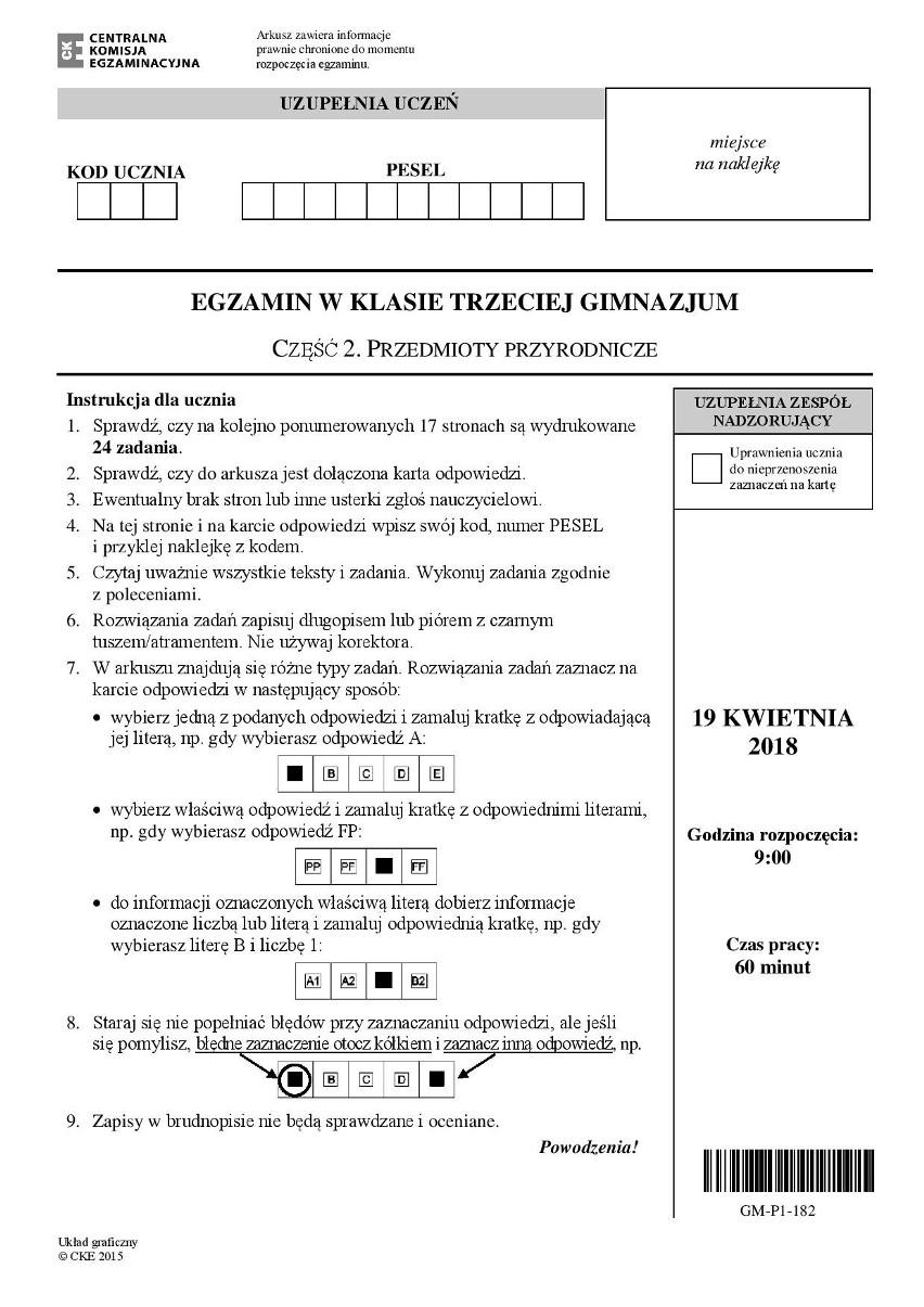 testy gimnazjalne 2018 data