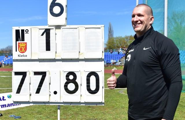 Wojciech Nowicki uzyskał w Kielcach jak na razie najlepszy w tym roku wynik w Europie w rzucie młotem.