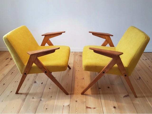 """Fotel typu zajączek (""""bunny"""")A może Wasze piwnice kryją fotele typu zajączek, prawdziwy hit PRL-u? Meble te były produkowane od lat 60. w Świebodzińskiej Fabryce Mebli. Cena fotela typ 300-177, pieszczotliwie zwanego """"zajączkiem"""" albo określonego jako """"bunny"""" na aukcjach wynosi nawet 1000 zł. Lekka forma sprawia, że meble te są obecnie poszukiwane przez kolekcjonerów i często poddawane renowacji."""
