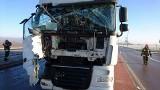 Zderzenie samochodów ciężarowych na DK 58. Droga była częściowo zablokowana [ZDJĘCIA]