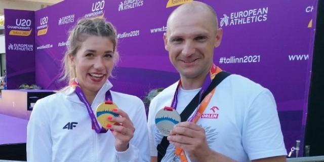 Kornelia Lesiewicz i trener Sebastian Papuga