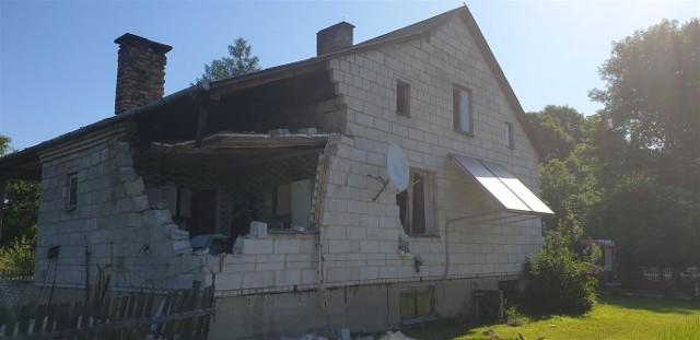 Wybuch butli z gazem w domu jednorodzinnym w miejscowości Radziwiłłówka