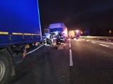 Wypadek na DK86 w Będzinie Łagiszy: Trzy ciężarówki TIR zderzyły się i zablokowały przejazd w kierunku Katowic