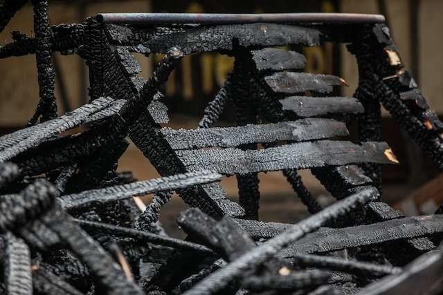 Spalony skateparkpożar w skateparku w Myślęcinku