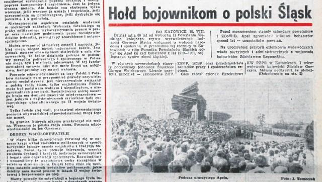 """Wydanie """"Dziennika Zachodniego"""" z 19 sierpnia 1980 r. A w nim relacja z uroczystości pod Pomnikiem Powstańców Śląskich"""