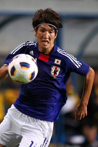 Genki Haraguchi w spotkaniu reprezentacji Japonii przeciwko Malezji.