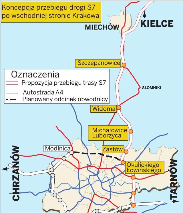 Planowany przebieg drogi S7 w kierunku Kielc