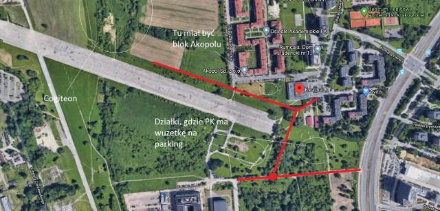 Koncepcja drogi do MCN, wraz ze wskazaniem, gdzie PK ma wuzetki na parking i gdzie Akopol chciał budować blok