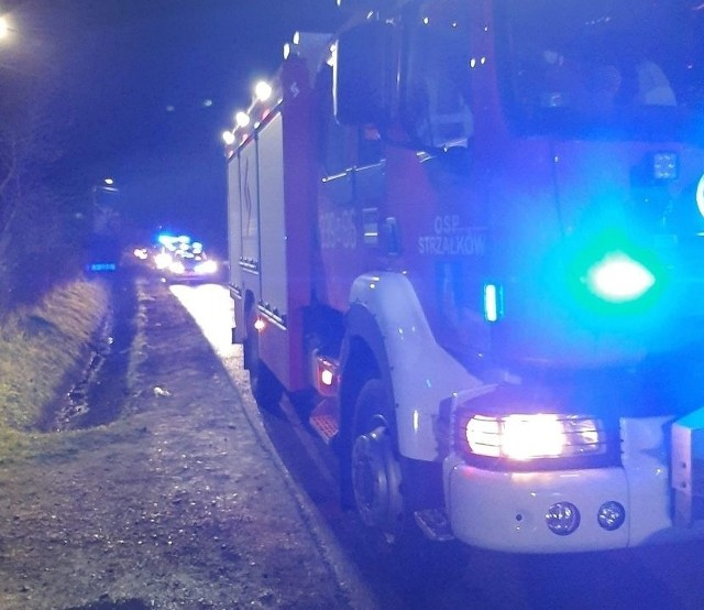 Miejsce śmiertelnego wypadku w Wolanowie zabezpieczali między innymi strażacy z ochotniczej jednostki w Strzałkowie.