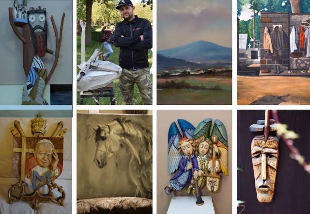 Sanus per Artem to wystawa prac aż 26 suchedniowskich artystów. Na zdjęciu rzeźbiarz Dawid Szlufik i niektóre eksponaty.