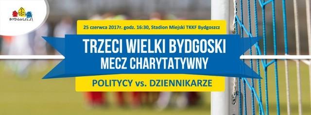 Już po raz trzeci w Bydgoszczy dojdzie do charytatywnego meczu Politycy - Dziennikarze, z którego dochód przekażemy na podopiecznym z ośrodków opiekuńczych. Spotkanie odbędzie się w niedzielę o godz. 16.30 na stadionie TKKF im. Eugeniusza Pultyna przy ul. Słowiańskiej.