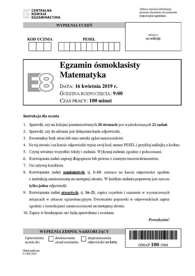 Egzamin Ósmych klas. Matematyka ODPOWIEDZI ARKUSZ CKE ARKUSZ I ODPOWIEDZI TUTAJ >>>>> ARKUSZ I ODPOWIEDZI MATEMATYKA CKE 2019
