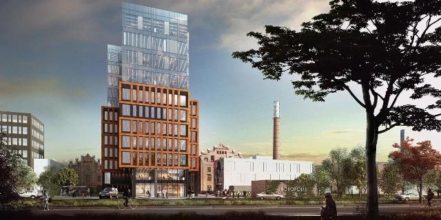Tak budynek ma się prezentować po zakończeniu budowy (widok od strony ul. Wydawniczej).