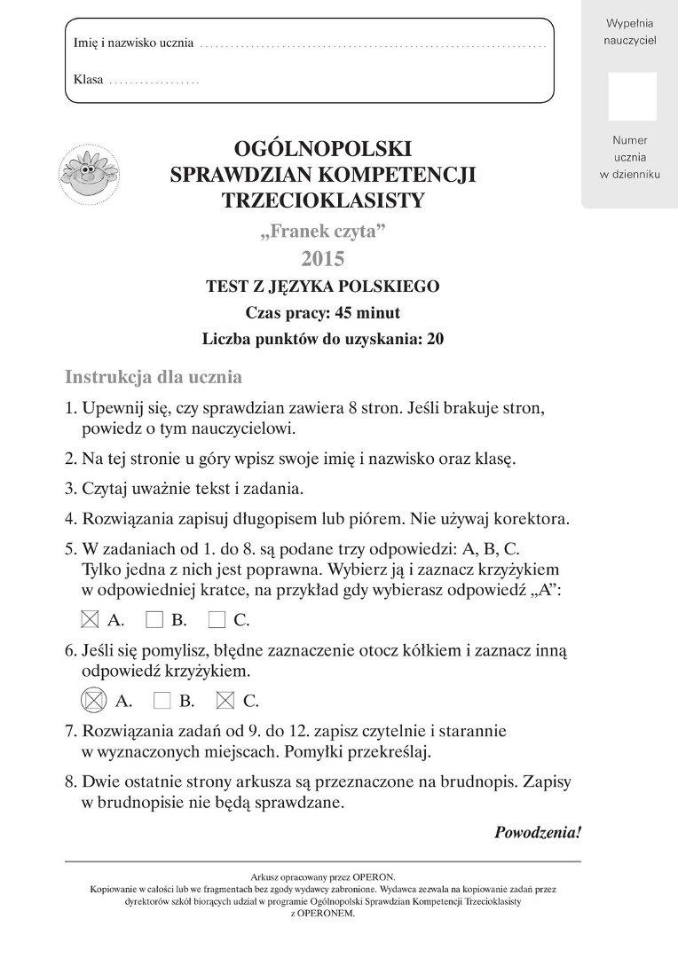 testy diagnozujące z języka polskiego szkoła podstawowa