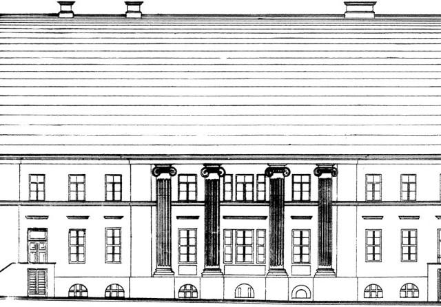 Elewacja domu Kempnerów. Rysunek z 1886 r., skopiowany w latach 30. XX w. przez Jana Glinkę (z Tek Glinki w Archiwum Państwowym w Białymstoku).