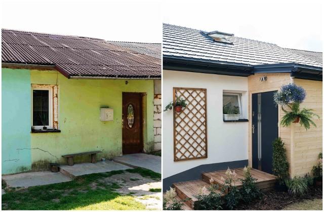 Dom rodziny pana Łukasz z Wożuczyna z pow. tomaszowskiego przed (po lewej) i po remoncie (po prawej)