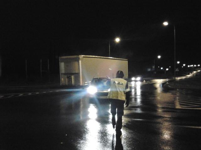 Zablokowane skrzyżowanie w Szczecinku.