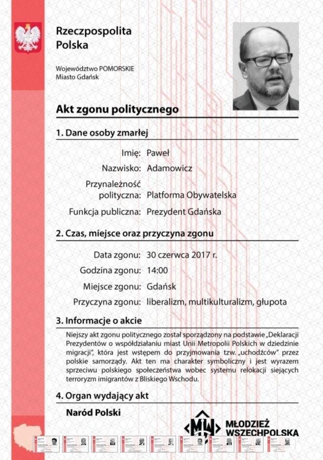 Polityczny akt zgonu Pawła Adamowicza