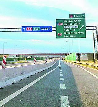 A1 między Piekarami a węzłem z S1 w Pyrzowicach