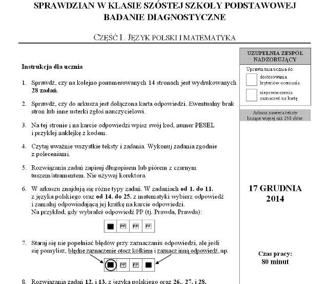 Próbny sprawdzian szóstoklasisty z Operonem 2015 - język polski, matematyk,a język angielski - tematy, arkusze, odpowiedzi
