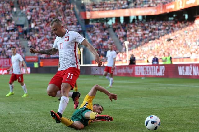 Kamil Grosicki podczas meczu z Litwą w Krakowie