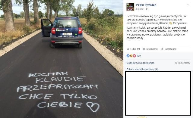 Wyznanie na asfalcie w gminie Deszczno