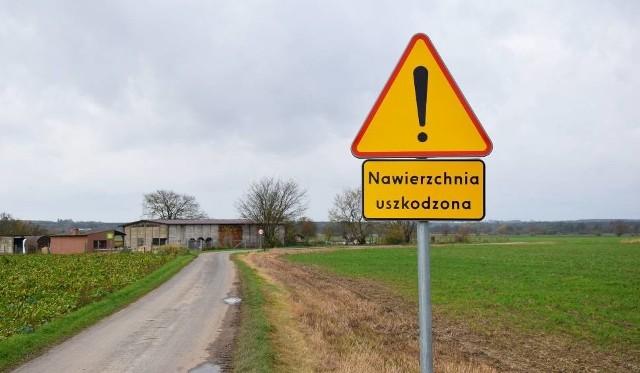 Znak ostrzega przed drogą w Kosowie już od wielu miesięcy.