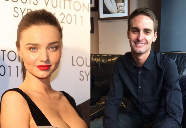 Miranda Kerr i Evan Spiegel Znana modelka i amerykański miliarder, założyciel Snapchata, poznali się w 2014 roku na kolacji zorganizowanej przez dom mody Louis Vuitton w Nowym Jorku. W maju 2017 roku wzięli kameralny ślub.
