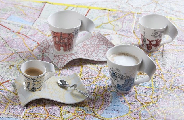 Limitowana kolekcja filiżanek New Wave Caffe Cities of WorldNaczynia mają charakterystyczny, finezyjnie zakręcony uchwyt i falujący spodek.