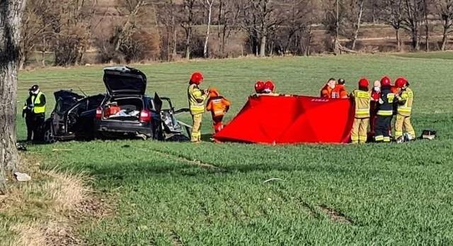 Wypadek na drodze wojewódzkiej nr 363 koło miejscowości Sichów 13.03.2020