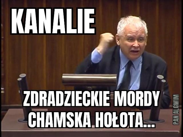 """Jarosław Kaczyński określił opozycję mianem """"chamskiej hołoty"""". Zobacz memy na kolejnych slajdach galerii"""