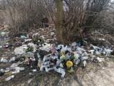 Dzikie wysypisko powstało przy cmentarzu komunalnym w Sandomierzu. Śmieci zamiast do kontenera trafiają pod płot nekropolii