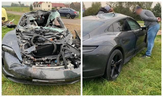 Porsche Taycan Turbo rozbił się koło Sztabina. Auto warte ponad 700 tys zł wbiło się pod przyczepę