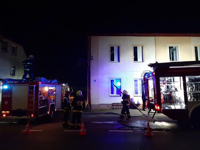 Pożar w budynku mieszkalno-usługowym w Trzebielinie