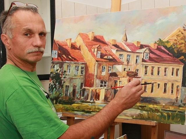 Roman Sakowski namalował m.in. kamienice przy ul. Wesołej. Pokazał je jednak od zaplecza, czyli od ul. Ogrodowej.
