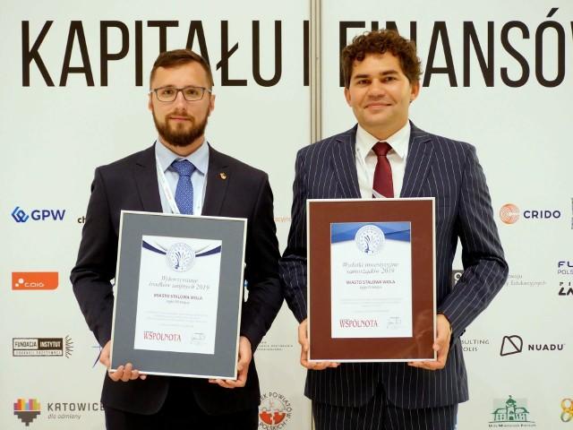 Prezydent Lucjusz Nadbereżny (z prawej) i Wojciech Chodorek z kancelarii prezydenta