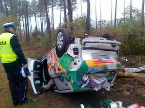 Samochód osobowy wypadł z drogi i ściął słup telefoniczny.