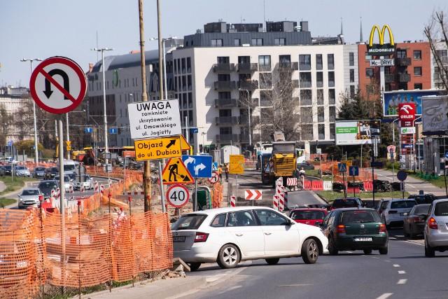 Remont skrzyżowania ulic: Dmowskiego i Jagiełły 27.04.2021