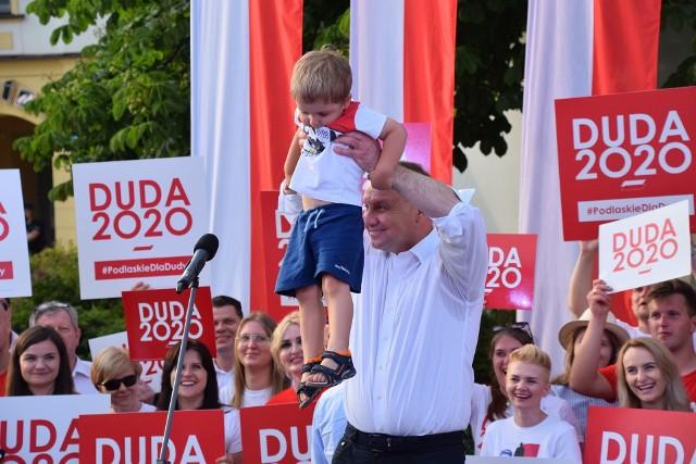 Prezydent Polski Andrzej Duda na wiecu wyborczym w kampanii prezydenckiej