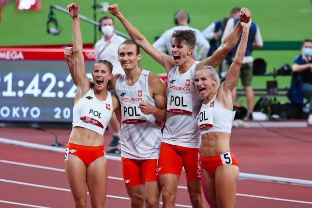 Złota sztafeta 4x400: Natalia Kaczmarek, Karol Zalewski, Kajetan Duszyński i Justyna Święty-Ersetic
