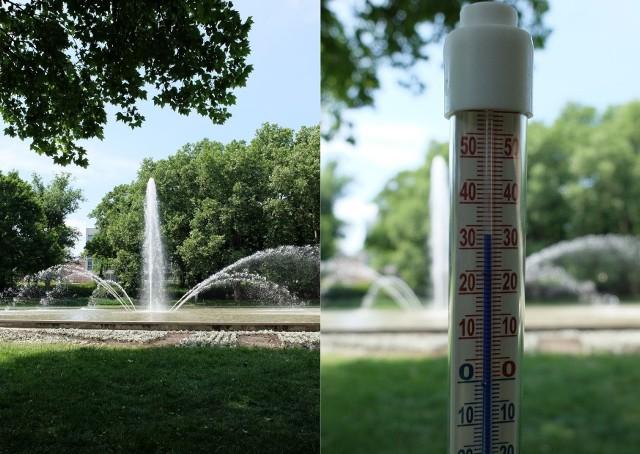 Temperatura w parku Mickiewicza we wtorek ok. godz. 13 wyniosła 33 stopnie Celsjusza.