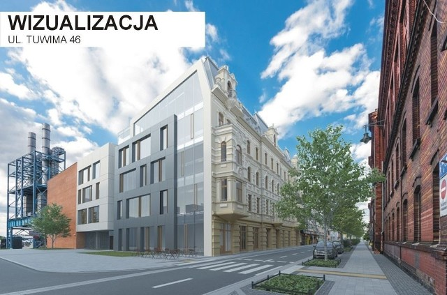 Kamienica przy Tuwima 46 to największy obiekt do rewitalizacji. Będzie rozbudowany, a w oficynie znajdą się biura dla EC1. Dobudowana elewacja od zachodniej strony ma łączyć nowoczesność Nowego Centrum Łodzi z famułami po drugiej stronie ulicy Tuwima.